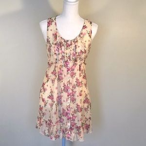 Timing floral Sheer Sleeveless Button-Down Dress